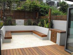 Built in seating around the decking in a square shape Garden Oasis, Rooftop Garden, Garden Spaces, Small Garden Design, Patio Design, Exterior Design, Back Gardens, Small Gardens, Outdoor Gardens
