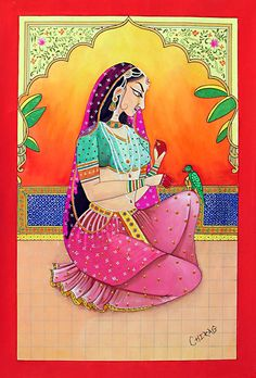 Rajput Princess - Miniature Painting from Rajasthan, India Rajasthani Painting, Rajasthani Art, Mughal Paintings, Indian Art Paintings, Madhubani Art, Madhubani Painting, Indian Traditional Paintings, India Painting, Woman Painting
