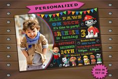 PAW PATROL BIRTHDAY INVITATION Paw Patrol Birthday Invitation - Make their birthday special with this unique Birthday Party Invitation! This listing is for one digital invitation personalized with your event details. You will receive a printable JPG file via email, no physical items will be shipped. You will be responsible for the printing of your invitations.  ★ NO shipping cost! Because this file is digital, you can print as many copies as youd like from home or a photo lab. No printed…