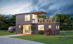 Stylish Shipping Container Home With Living Wall Decor – Vanchitecture Sea Container Homes, Storage Container Homes, Container House Plans, Container House Design, Shipping Container Homes, Tiny House Design, Shipping Containers, Cargo Container, Storage Containers