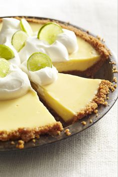 Andrew Zimmern's Key Lime Pie Recipe Key Lime Pie cups graham cracker crumbs ¼ cup packed light brown sugar Kosher salt 6 tbsp. unsalted butter, melted 8 large egg yolks 2 cans sweetened condensed milk cups fresh key li… Summer Dessert Recipes, Delicious Desserts, Best Summer Desserts, Fun Desserts, Graham Cracker Crumbs, Graham Crackers, Key Lime Pie Rezept, Key Lime Desserts, Plated Desserts