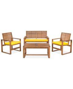 Blaise 4 Piece Outdoor Wood Set, Quick Ship - Outdoor & Patio Furniture - Furniture - Macy's