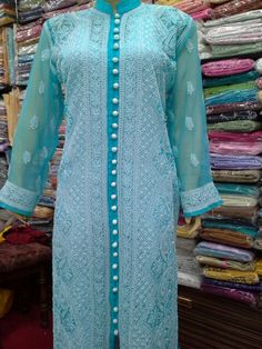 Lucknowi_Chikan_ Front Open Style Georgette Kurti [*Sfq*]