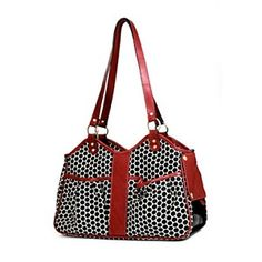 Metro Classic Italian Leather Dog Carrier by PETote - Reverse Noir Dots and Red-Metro Classic Italian Leather Dog Carrier by PETote - Reverse Noir Dots and Red Is there a dog in that purse? No one will ever know with the The Petote Metro Classic Purs Faux Fur Bedding, Cat Carrier, Classic Italian, One Bag, Cool Pets, Italian Leather, Small Dogs, Diaper Bag, Purses
