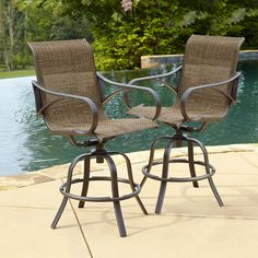 GRAND RESORT OAK HILL 2PK SLING BAR STOOLS WITH SWIVEL ACTION ***LIMITED AVAILABILITY***
