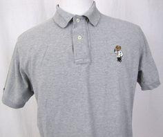 Polo Ralph Lauren Shirt Large Tuxedo Martini Bear Gray Rare Cotton Short  Sleeve  PoloRalphLauren  PoloRugby 25c8d230ecc