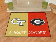 Keep this Georgia Tech - Georgia College House Divided Mat by Fanmats in your home to let your loved ones and guest know your team is not to be reckoned with! Georgia College, College House, Rugs And Mats, Nylon Carpet, House Divided, Makeup Deals, Pin Image, Floor Rugs, Coupons