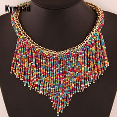 Kymyad New Fashion Bohemia Colar Necklace For Women Beads Tassel Necklaces & Pendants Fashion Women Accessories