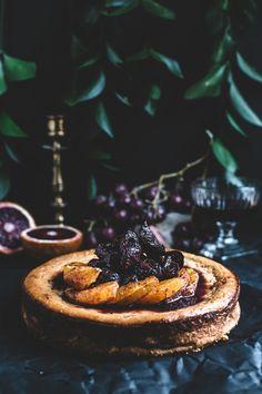 Blood Orange Ricotta Cheesecake with Red Wine Glazed Figs (Artful Desperado) Ricotta Cheesecake, Cheesecake Recipes, Dessert Recipes, Fig Recipes, Sweet Recipes, Cupcakes, Cupcake Cakes, Blood Orange, Let Them Eat Cake