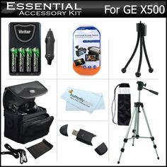 """Essential Accessories Kit For GE POWER Pro series X500, X5 Power Pro Digital Camera Includes 4AA High Capacity Rechargeable NIMH Batteries And AC/DC Rapid Charger + USB Reader + Deluxe Case + 50"""" Tripod w/Case + Screen Protectors + More 16 MP Digital C"""