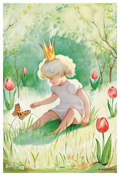 by kerstin frykstrand Old Nursery Rhymes, Elsa Beskow, Spring Pictures, Children's Book Illustration, Drawing For Kids, Beautiful Paintings, Fairy Tales, Character Design, Drawings