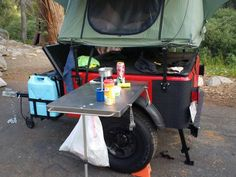 When camping off the beaten path without a picnic table available, you'll need some extra counter space.  One way to get it is with a removable side table.  Have a hardware kit available for building your own.  Get yours at; https://compact-camping-concepts-2.myshopify.com/collections/outfitting