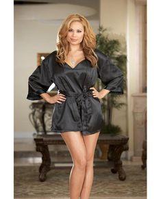 0a699be9 Charmeuse Short Length Kimono W-matching Chemise Black 3x-4x Lingerie Dress,  Babydoll