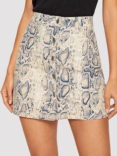 Women's Mid Waist Above Knee O-Ring Zipper Front Leopard Print Skirt, / Large Demin Skirt, Leopard Print Skirt, Button Up Skirts, Denim Shop, Printed Skirts, Daily Wear, Nightwear, Snake Skin, Print Button