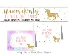 These pretty watercolor and gold unicorn tent cards are the perfect decoration for a dreamy unicorn birthday party! The unicorn birthday party tent cards feature a hand-lettered font in soft pink. Pink, turquoise and purple watercolor paper texture combines with gold foil stars and unicorns to create a magical and dreamy look for your unicorn birthday party. They come in two coordinating styles to mix and match or choose your favorite. The editable tent cards can be used for buffet food…