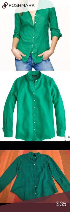 J.Crew Perfect Shirt in Cotton-Linen In brilliant 'Emerald Pool' the perfect linen shirt. For dressing up and down. Only worn once and super comfortable! J. Crew Tops Button Down Shirts