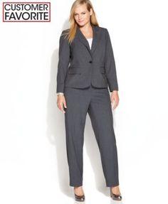 Women's Suits & Suit Separates - - Calvin Klein Plus Size Suit Separates Collection - Wear to Work - Plus Sizes - Macys Women Girl Work Office Long Sleeve Collared Blazer Su Plus Size Suits, Plus Size Casual, Trendy Fashion, Plus Size Fashion, Fashion Women, Work Fashion, Casual Blazer, Blazer Suit, Suit Jacket
