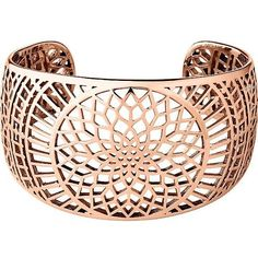LINKS OF LONDON Timeless 18ct rose-gold vermeil cuff ($755) ❤ liked on Polyvore featuring jewelry, bracelets, chunky jewelry, chunky bangles, links of london jewellery, cuff jewelry and cut out jewelry