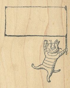 Edward Gorey Kidstamps Flag Cat rubber stamp