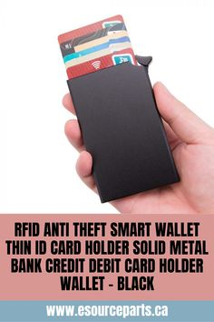 RFID Anti Theft Smart Wallet Thin ID Card Holder Solid Metal Bank Credit Debit Card Holder Wallet - Black RFID blocking breathe easy because your cards will be surrounded by the metal body of this wallet protecting them from even the most powerful RFID Tools And Toys, Dell Laptops, Tech Toys, Card Wallet, Science And Technology, Smartphone, Gadgets, Card Holder, Electronics