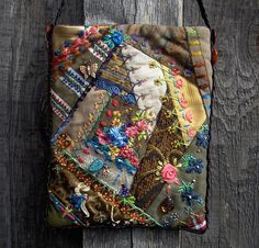 I ❤ crazy quilting . . .   Crazy Quilted Purse- Crazy quilting with a variety of weights of fabrics.