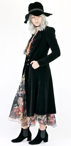 Divine Vintage 70's Black Velvet Victorian Style Fitted Coat by WYLDESYDEVINTAGE on Etsy https://www.etsy.com/listing/291268717/divine-vintage-70s-black-velvet