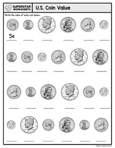 These free printable, counting money, worksheets will help your students build an understanding of coin recognition, coin value, addition, subtraction, skip counting, place value, and more. Counting Money Worksheets, Subtraction Worksheets, Kindergarten Math Worksheets, Coin Value Chart, Learn To Count, Bar Graphs, Child Development, Homeschool, Students