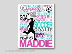 Girl's Soccer Typography Art Print, Perfect Girl's Room Art, You Choose the Colors, Makes a Great Gift for any Soccer Lover on Etsy, $10.00