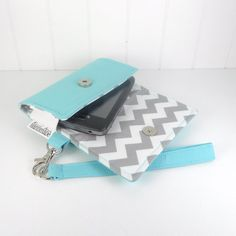 The Errand Runner - Cell Phone Wallet - Wristlet - for iPhone/Android - Aqua/Chevron in Gray on Etsy, $32.00