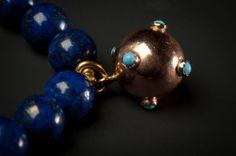 Lapis lazuli Pearl bracelet with antique magnate ball