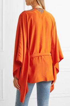 Roberto Cavalli - Embellished Silk-satin Blouse - Bright orange - IT48