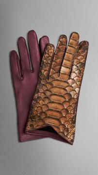 aba405d2dd0be Burberry Silk-Lined Python Leather Gloves on shopstyle.com Brown Paint