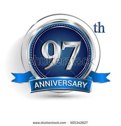 Celebrating 97th anniversary logo, with silver ring and blue ribbon isolated on white background.