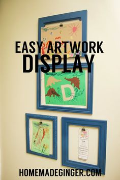 Easy way to display kids' artwork using empty frames and office clips!