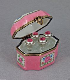 FRENCH LIMOGES BOX PERFUME PINK FLORAL CHEST & CENTER JEWELED BOTTLES.
