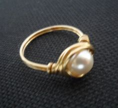 Wire Wrapped Ring  Swarovski Crystal Pearl by Jenalynscreations, $12.00