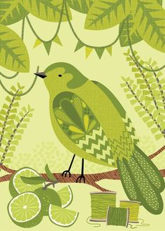 Illustration by Hillary Bird #bird #lime