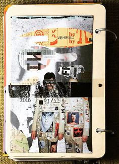 """""""Secrets"""", art journal entry from 12-25-16. @JoAnn, @timholtzdesigns, #handmadewithjoann. Besides one of my own stamps from Carolyn's Stamp Store I used stickers from Tim Holtz."""
