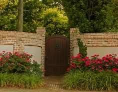 knock out roses and decorative grasses along fence