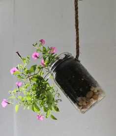 Hanging Mason Jar Planter with drainage Upcycled by BootsNGus