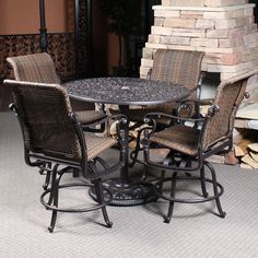 "Florence Woven ""Wicker"" Counter Height Patio Set by Gensun The Florence takes counter height all weather wicker seating to a whole new level. Outdoor Patio Bar, Patio Table, Patio Chairs, Patio Dining, Dining Set, Bar Height Patio Set, Counter Height Stools, Outdoor Dining Furniture, Deck Furniture"
