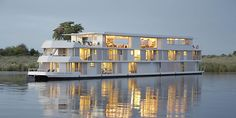 The Zambezi Queen Houseboat operates in the Chobe National Park. A luxury floating hotel with constant views of the wildlife enjoying the Chobe River. River Cruise Lines, Best Cruise Lines, Chobe National Park, National Parks, Budapest, Best River Cruises, Luxury Houseboats, Floating Hotel, Floating Island