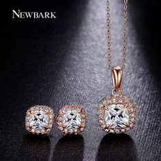 NEWBARK Square Cubic Zirconia Women Jewelry Sets 4 Prong Setting CZ Necklace Small Stud Earrings Colar Feminino Wedding Set