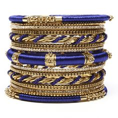 Hover over image to zoom Amrita Singh Set Of 15 Rupal Silk Wrapped Bangle Set Garnet And Gold, Blue Gold, Cobalt Blue, Indigo Blue, Navy Blue, Bangle Set, Bangle Bracelets, Stacking Bracelets, Silk Bangles