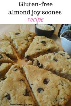 Gluten-free almond joy scones – The Curious Frugal Tender and delicious gluten-free scones with almond flour. These are reminiscent of Almond Joy bars, with the flavors of chocolate, coconut, and almond! Gluten Free Scones, Gluten Free Diet, Gluten Free Baking, Gluten Free Desserts, Dairy Free, Almond Flour Recipes, Gf Recipes, Gluten Free Recipes, Coconut Flour Scones Recipe