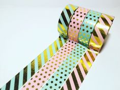 Mint and Pink, Gold Foil, Polka Dots, Stripes, Washi Tape by DaisyGreyPretties on Etsy https://www.etsy.com/listing/295311229/mint-and-pink-gold-foil-polka-dots