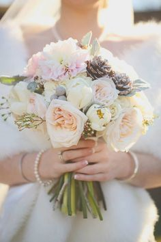 Love this brides bouquet with touches of blush pink and pine comb accents by Hot House Design Studio. Wedding planning Becky's Brides, photo by J Woodbery Photography.