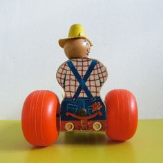 jouet à tirer tracteur Fisher Price // vintage 60s tractor pull toy