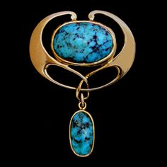 MURRLE BENNETT & Co. (1896-1914)   A gold brooch with a central turquoise and a gold set turquoise drop.  Anglo/German c.1900. Marks for MB & Co. and 15 ct.  Size: Height 3.5 cm. Width 2.5 cm.