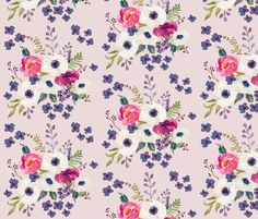 Boho Purple & White / Pink Background by shopcabin